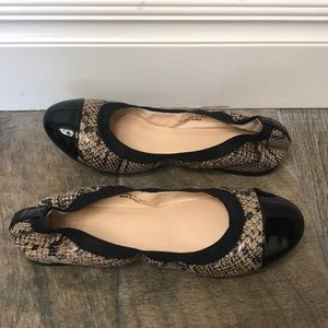 Cole Haan black and brown snakeskin flats size 7B
